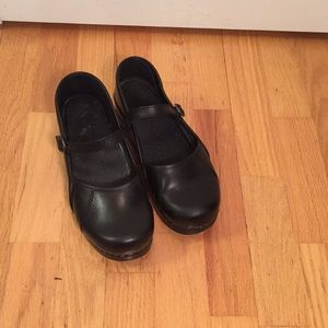 Dansko black leather Mary Jane clogs